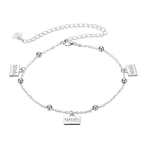 Beydodo Versilbert Damen Fußketten Boho mit Anhänger Wish Strand Fuss Kette Silber