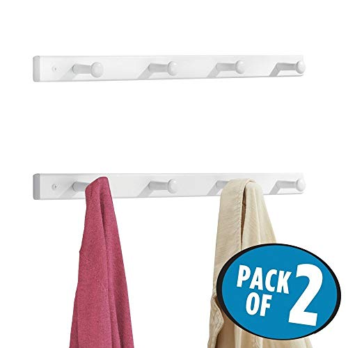 mDesign patère en bois (lot de 2) – porte manteau mural discret avec 4 crochets – patere pour le rangement de manteaux, vestes, écharpes et serviettes – blanc