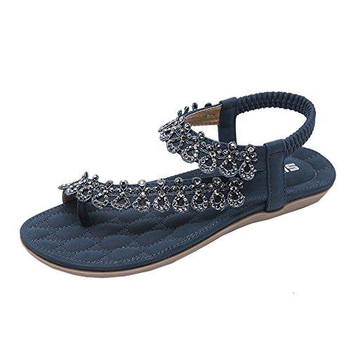 Frauen BURFLY Sommer Wasserdichte römische Hausschuhe, Frauen Blumen Strass Sandalen, Mädchen Freizeitschuhe, einzelne Schuhe Beaded High Heel Heels