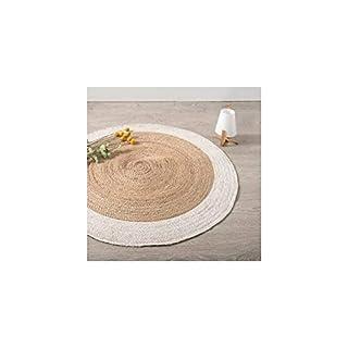 AC-Déco Teppich, rund, weißer Rand aus Jute, Durchmesser 120 cm