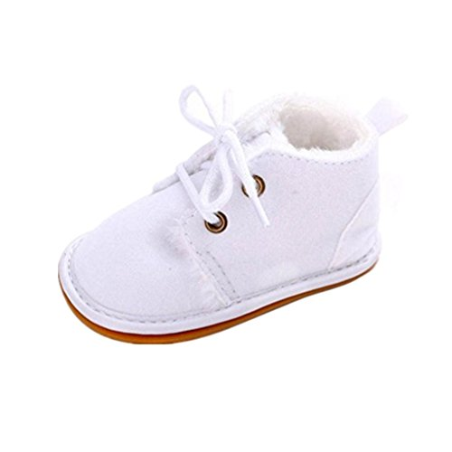 Auxma Zapatos de bebé, Bebé niño infantil nieve Botas zapatos suela de goma cuna Prewalker (13cm(12-18 meses), Blanco)