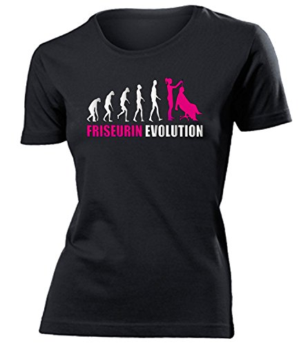 love-all-my-shirts Friseurin Evolution 4595 Damen T-Shirt (F-SW-Weiss-Pink) Gr. M