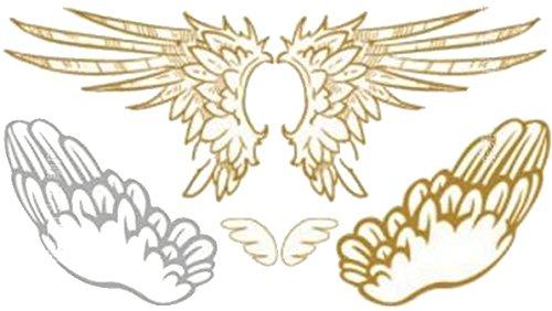 BODY-/KÖRPER-/FLASH-TATTOO, wasserlöslich ~~ENGELSFLÜGEL FLÜGEL GOLD/SILBER~~ 1 Tatoo-Bogen: 10,5 x 6 cm ()