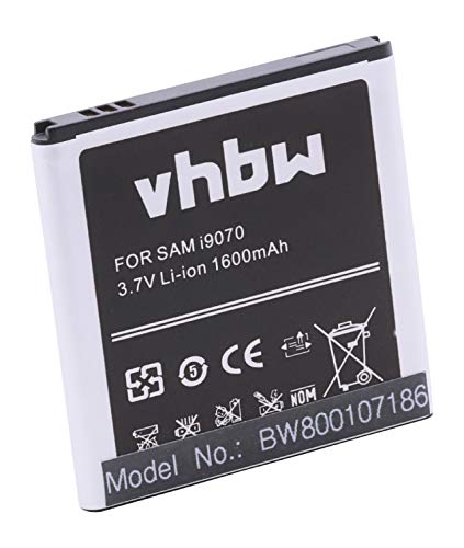 Batteria vhbw Li-Ion per Cellulare Samsung Galaxy S Advance, GT-i9070, GT-i9070p sostituisce EB535151VU, EB535151VUBSTD 1600mAh (3.7v)