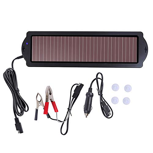 Betop-camp Solar Powered Car Battery Charger with Cigarette Lighter Plug and Battery Charging Clip Line. Suitable for cars, caravans and boats (1.5 watt), black