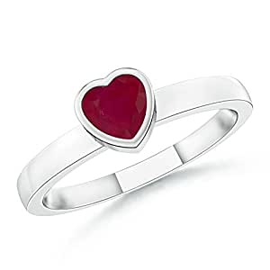 Bezel-Set Solitaire Heart Ruby Promise Ring in Platinum (4mm Ruby)