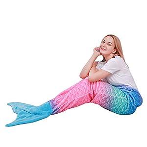 softan Meerjungfrau Decke für Mädchen Erwachsene Flosse Kuscheldecke Glitzernde Fischschwanz Mikrofaser Flanell Fleece alle Jahreszeiten Schlafsack,63cmx152cm