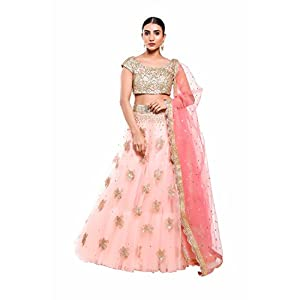Pushp Paridhan New Collection Traditional Ethnic Wear Machine With Handwork Coral Pink Lehenga Choli Set For Women