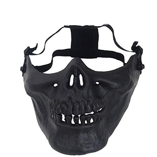 Ogquaton Schädel Maske Halbe Gesichtsmaske Airsoft Gear Mask Outdoor Schutzmaske Halloween Cosplay Zubehör Schwarz