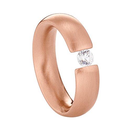 Heideman Ring Damen Intensio aus Edelstahl Rosegold farbend matt Damenring für Frauen mit Swarovski Stein Zirkonia Weiss im Brillant Schliff 4mm - Frauen Diamanten Ring Für