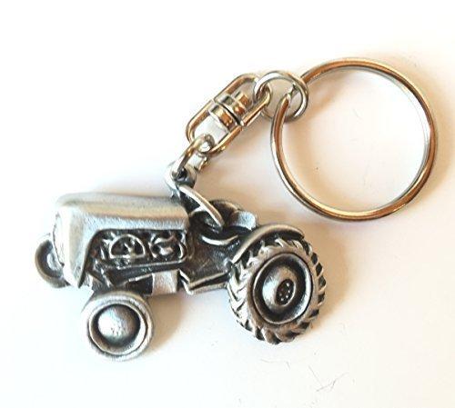 Alte Traktor Handmade Zinn Schlüsselanhänger + Abzeichen + Organza Beutel