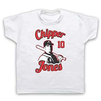 Inspire par Chipper Jones Atlanta Braves Baseball Officieux T-Shirt de L'Enfant, Blanc, 1-2 Years