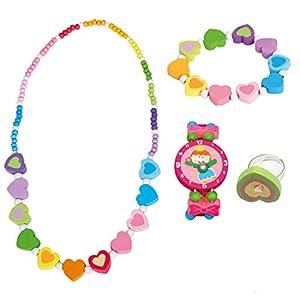 BINO 4 TLG. Set Holzschmuck Mädchen Motiv Regenbogen Herz – Halskette Armband Armbanduhr Ring