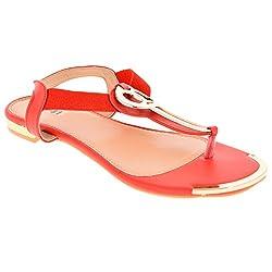 Zori Girls Flat Red Leather Bellies - 8 UK