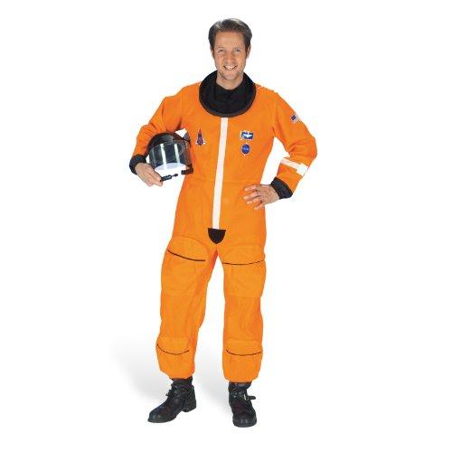 Kostüm Astronaut Herren Weltraum Anzug Overall Leuchtstreifen Gr. 50 - 60 Hals Krause Klettverschluss Hosenbeintaschen - (Anzug Astronaut Orange)