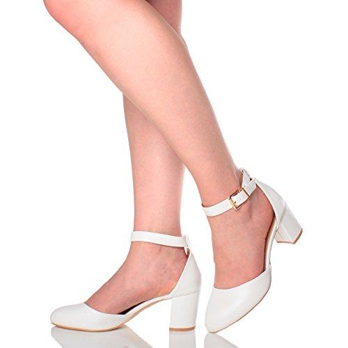 Femmes talon moyen sangle de cheville d'orsay soir professionnel escarpins chaussures sandales pointure Mat blanc