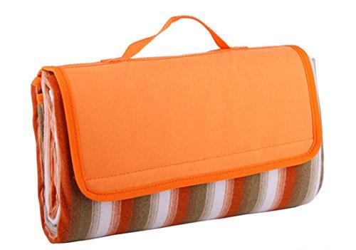 Honeystore Flanell Wasserdichte Yoga Matte Picknickdecke Mit Tragegriff Orange 125*150 CM