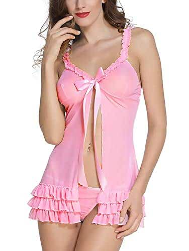 ce51febe98 BoldnYoung Women s Satin Babydoll Nightwear Lingerie Layered Open Front  with Panty (4574DDFF434