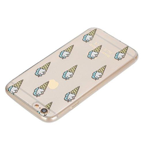 Etsue TPU Schutzhülle für iPhone 6S/iPhone 6 4.7 Zoll Silikon Handyhülle Case Cover, iPhone 6S/iPhone 6 4.7 Zoll Muster Ultradünnen Weiche Kristall Klar Durchsichtig Rückseite Tasche Etui Bumper Kratz Eistüte