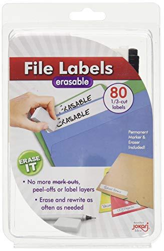 Jokari WSK40 - Erasable File Labels - Laminierte löschbare Feilenetiketten 1/3 Schnitt - Starterpaket mit 80 Etiketten, Radierer & Stift - Weiß - EINWEG