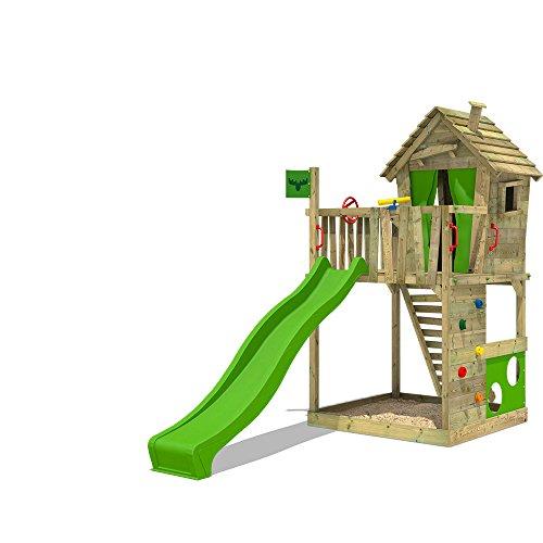 FATMOOSE Stelzenhaus HappyHome Hot XXL Spielturm Kletterturm Spielhaus auf Podest mit Holzdach, Kletterwand, Sandkasten, Torwand und Rutsche