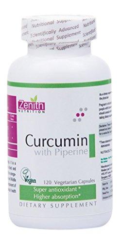 Zenith Nutrition High Absorption Curcumin with Piperine 95% Curcuminoids – 120 Veg Capsules