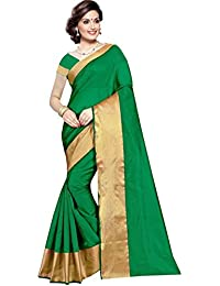 The Shopoholic Parrot Green Cotton Silk Saree For Women