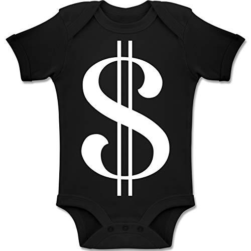 Shirtracer Karneval und Fasching Baby - Dollar Kostüm weiß - 18-24 Monate - Schwarz - BZ10 - Baby Body Kurzarm Jungen Mädchen -