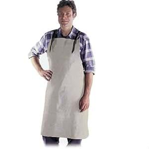 Tablier avec bavette en cuir fendu chromé 100 x 80 cm