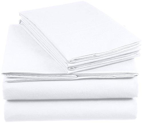 AmazonBasics Everyday - Juego de fundas de edredón nórdico y de almohada (100% algodón) Blanco - 260 x 240 cm y 2 fundas 65 x 65 cm