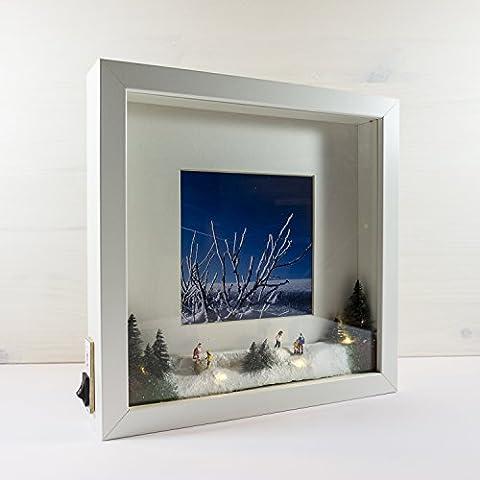 LED-Bilderrahmen *CHRISTMAS* 25x25 cm // für Innenbereich, als Nachtlicht, Geschenkidee, (Warm Weiß Led Weihnachten Tree)