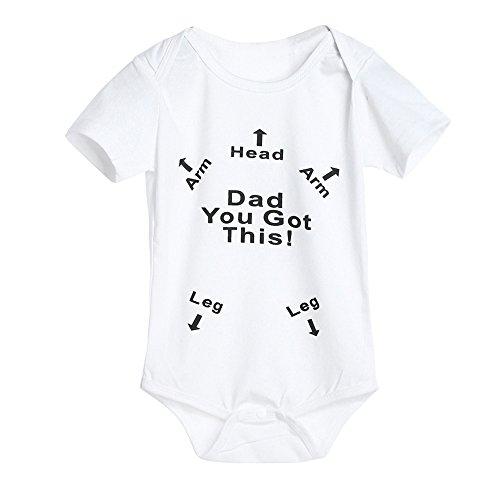 SamMoSon Unisex Baby Strampler Jungen Mädchen Schlafanzug Baumwolle Overalls Säugling Spielanzug Baby-Nachtwäsche Kurzarm-Body Dad You Got This-Drucken(80,Weiß)
