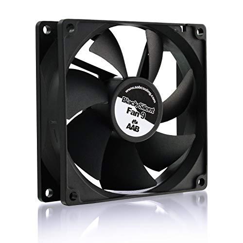 AAB Cooling Black Silent Fan 9 - Leise und Efizient 92mm Gehäuselüfter mit 4 Anti-Vibration-Pads - CPU Kühlung, Ventilator 12V, Prozessor Kühler, Lüfter PC