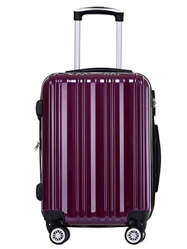Münicase- Hartschalen Koffer Reisekoffer Trolley Rollkoffer Polycarbonat TSA-Schloß Kofferset Gepäckset (Violett, Mittler Koffer (ca.66cm))