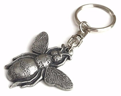 Honey Bee handgefertigt aus Englisch Zinn Schlüssel Ring + 59mm Button + Geschenk Tüte (Biene Gift)