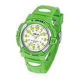 Juboos Kinderuhr Jungen Mädchen Analog Quartz Uhr mit Armbanduhr Gummi Wasserdicht Outdoor Sports Uhren-JU-001(Gr¨¹n)
