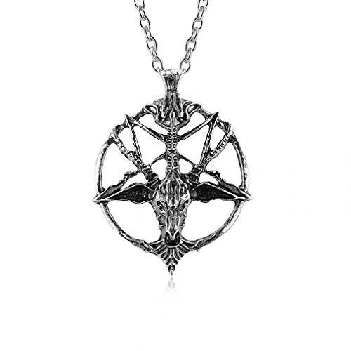 Ybmen la fortuna collana punk pentagram dio teschio di capra testa a sospensione satanismo occulto del metallo della collana silver star
