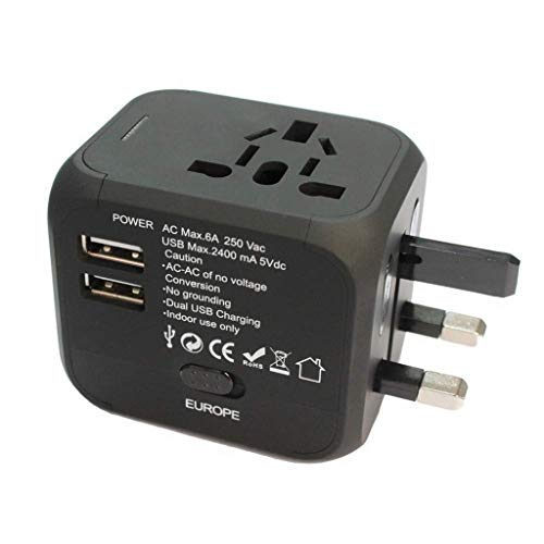 Jamicy Universal Reiseadapter Reisestecker, All-in-One Internationales Netzteil 2,4A Dual USB, Europäischer Adapter Reiseadapter Wandladegerät UK, EU, AU, Asien Für 150 + Länder (Schwarz)