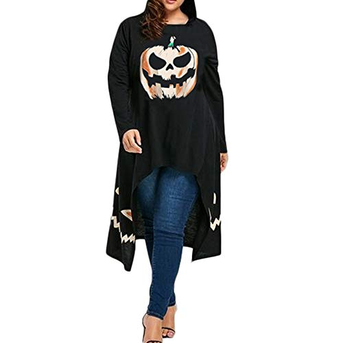 Togelei Halloween Kleid Halloween Frauen High Low Hem Kapuzen Kürbis Print Cocktail Party Swing Kleid High und Low Saum Kürbis unregelmäßig Bedrucktes Kleid Casual O-Neck Print Knie Rock Loose Casual