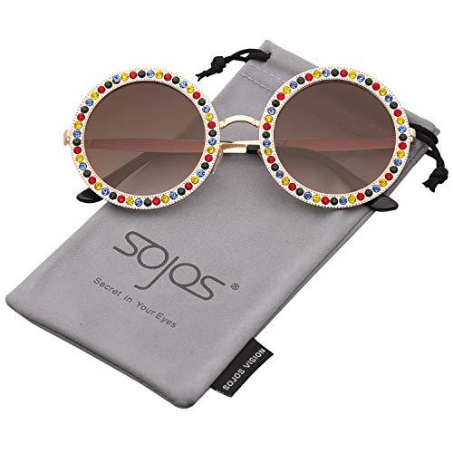SOJOS Sonnenbrille Runde Rahmen mit Kristall Groß Retro Damen SJ1095 mit Gold Rahmen/Braun Linse