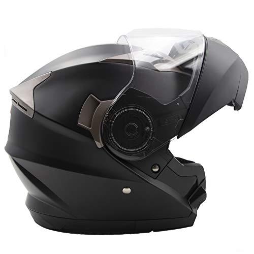 Nat Hut Casco Modulari Moto ECE Omologato | Caschi Modulari con Spazio per Bluetooth | Doppia Visiera Parasole (M, Nero)