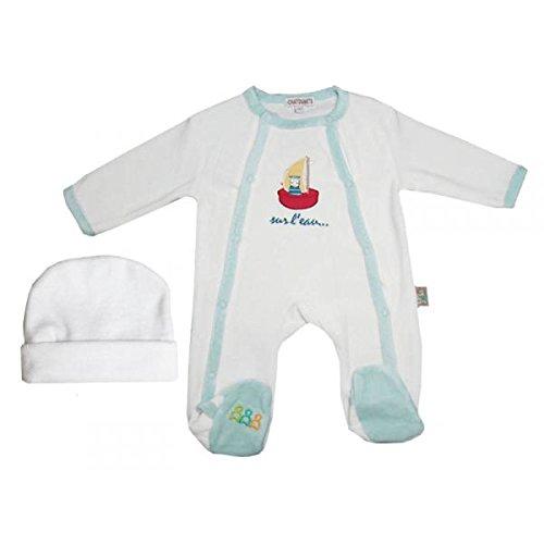Poussin bleu - Pyjama blanc avec voilier et bonnet, 3 mois Taille - 60 cm 3 mois, Couleur - Blanc