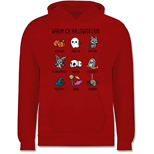 Shirtracer Anlässe Kinder - Warum ich Halloween Liebe - 12-13 Jahre (152) - Rot - JH001K - Kinder Hoodie