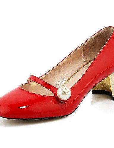 WSS 2016 Chaussures Femme-Bureau & Travail / Décontracté-Noir / Bleu / Rouge-Gros Talon-Talons / Bout Carré-Chaussures à Talons-Cuir red-us6 / eu36 / uk4 / cn36