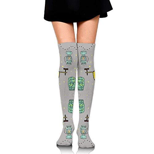 No Soy Como Tu Hohe Socken Camper Firefly Mason Jar Lanterns Training Socks Crew Athletic Socks Long Sport Soccer Socks Soft Knee High Sock Compression Socks for Men Women