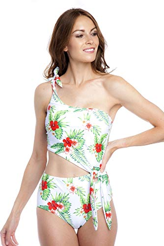 SOL Y PLAYA - Bañador Bikini Trikini una Pieza un Hombro asimétrico Moderno para Mujer Chica 40 ...