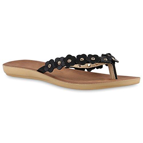 Damen Zehentrenner Beach Schuhe Lack Flats Sandalen Schwarz Cabanas