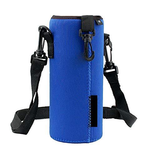 Finebo Portabottiglie isotermico Borsa Termica per Bottiglia con Cinghia per Il Trasporto di Bevande per Un Picnic 1 litro Blu