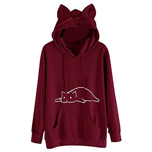 Damen Basic-kitty (TWIFER 2019 Winter Crop Pullover Langarm Cat Kitty Print Kurze Hoodies Kapuzenpullover)