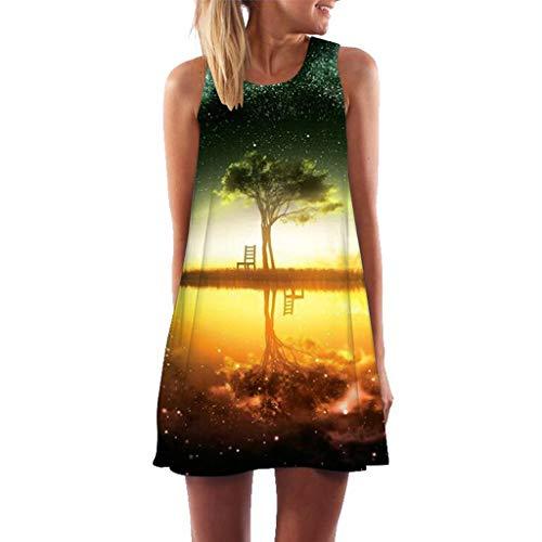 rmellos Sommerkleid Minikleid Strandkleid Partykleid Rundhals Rock Mädchen Blumen Drucken Kleider Frauen Mode Kleid Kurz Hemdkleid Blusekleid Kleidung Muttertags Mama Geschenk ()